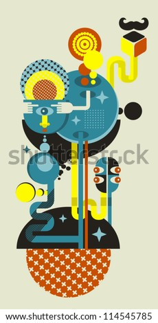 Abstract monsters world. Vector illustration in retro style. - stock vector