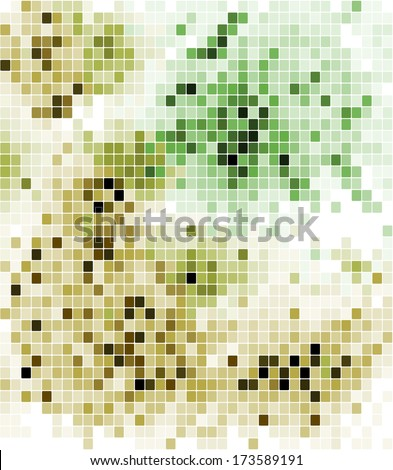 Abstract mosaic background design with a geometric pattern of random squares in shades of green and light brown - stock vector