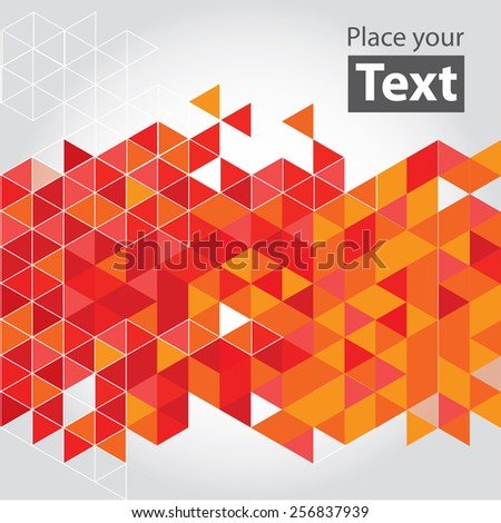 Abstract mosaic background. Red cubic geometric background. Design elements. Layered file. White - stock vector