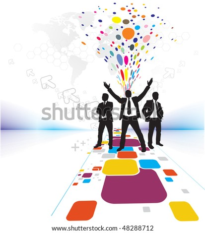 Abstract mosaic background with standing success businessman silhouetted . Vector illustration. No mesh this Vector - stock vector
