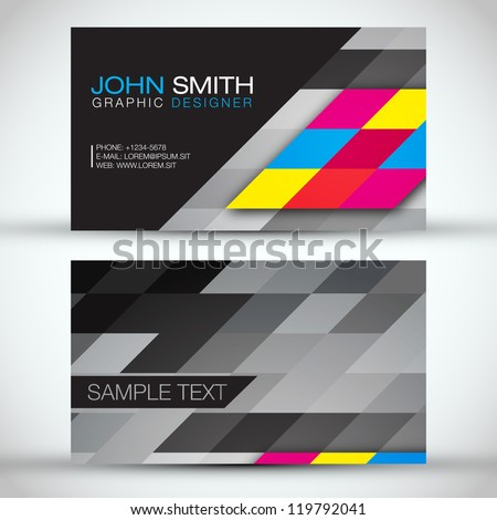 Abstract Mosaic Business Card Vector Template - stock vector