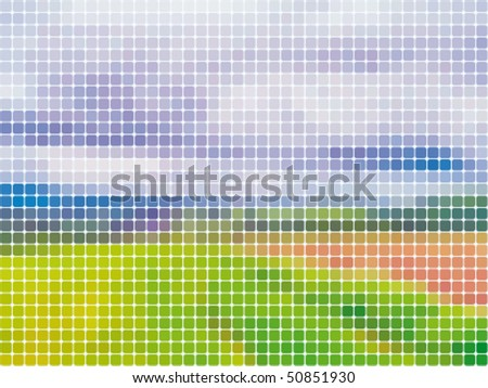 abstract mosaic landscape background - stock vector