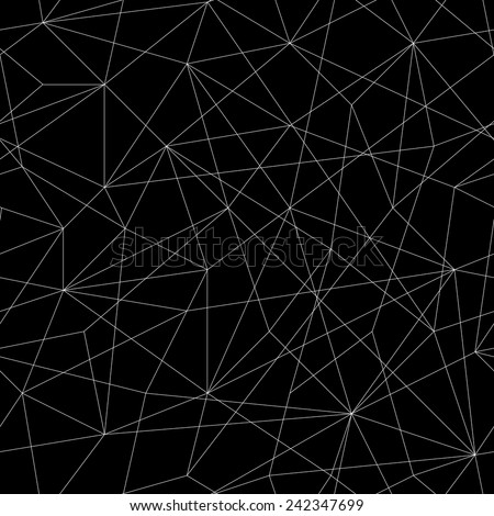 Abstract mosaic pattern with triangles. Seamless vector. Stylized texture with black and white lines. Monochrome puzzle background for decoration or backdrop. Unstable composition. - stock vector
