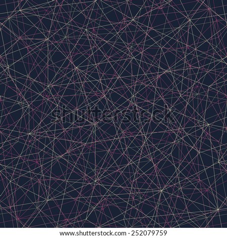 Abstract mosaic pattern with triangles. Seamless vector. Stylized texture with pink and yellow lines. Dark puzzle background for decoration or backdrop. Unstable composition. - stock vector