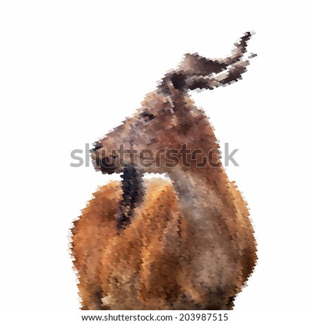 Abstract mosaic portrait of a young marcher male, isolated on white background. Side portrait of a majestic goat. Wild beauty of the great buck. Vector illustration. - stock vector