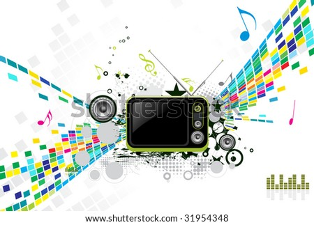 abstract mosaic vector composition with Retro television. - stock vector