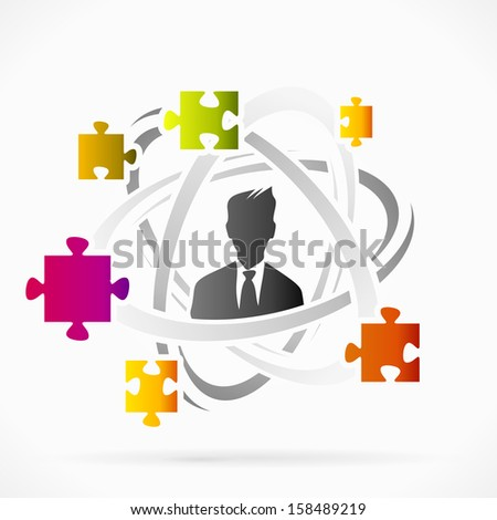 Abstract motion concept about puzzled mind vector illustration  - stock vector