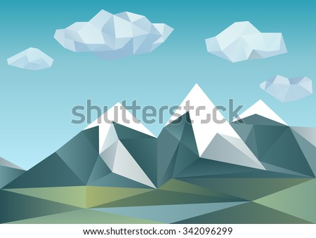 Abstract mountain landscape in polygonal origami style
