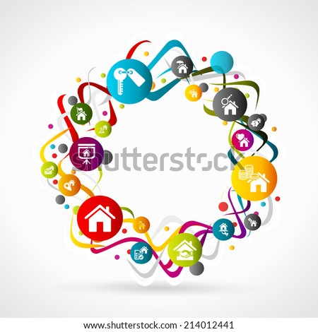 Abstract multicolor ribbons real estate background - stock vector