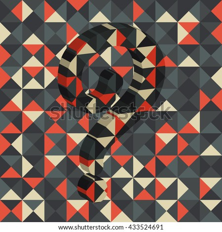 Abstract multicolor square background with question mark 3D, Vector illustration