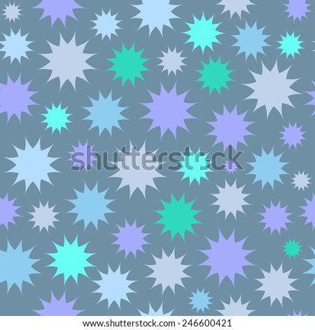 Abstract multicolor star firework background. Circles seamless pattern.