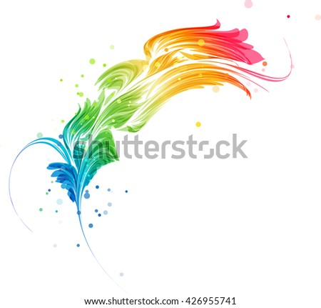 Abstract multicolored element, stylized design object on a white background