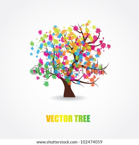Abstract multicolored tree - stock vector