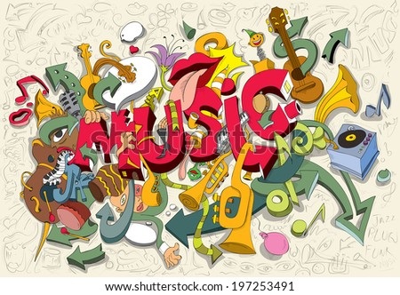 Abstract Music Artwork, Trumpet, Drums, Piano, Guitar, Instruments, People, Sketches (vector Art) - stock vector