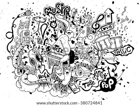 Abstract Music Background ,Collage with musical instruments.Hand drawing Doodle,vector illustration. - stock vector