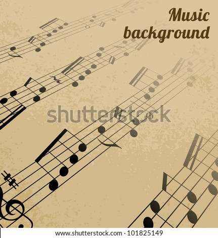 Abstract music background on old paper. Vector illustration.