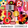 Abstract Music Background - vector illustration. Collage with musical instruments. - stock photo
