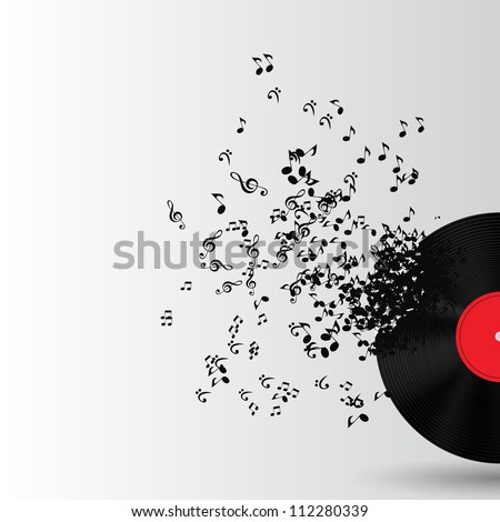 Abstract music background vector illustration for your design. Music Disk. Music Notes. Music Background - stock vector