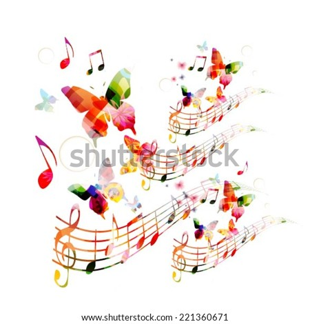 Abstract music background with butterflies - stock vector