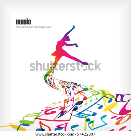 Abstract music background with dancer. - stock vector