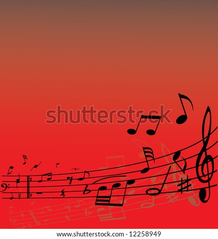Abstract music background with different notes and lines - stock vector