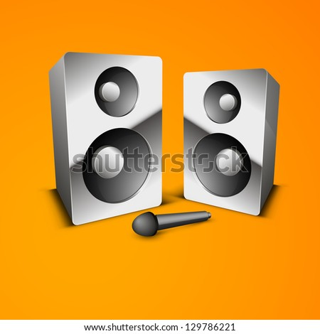 Abstract music background with loudspeakers. - stock vector