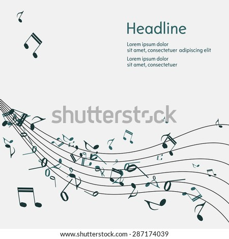 Abstract music background with notes. Isolated. Vector illustration. - stock vector