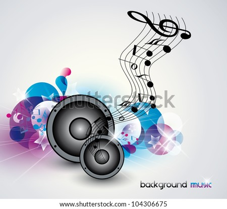 Abstract music background with speakers