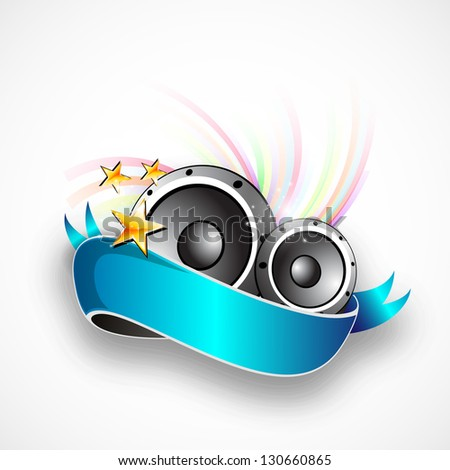Abstract music background with speakers. - stock vector