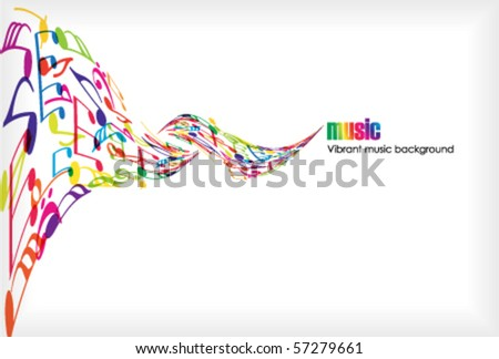 Abstract music background with tunes on white - stock vector