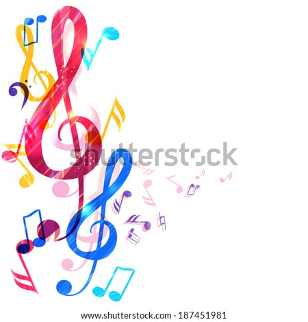 Abstract music background with various music notes and treble clef ...