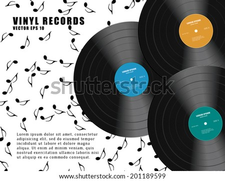 Abstract music background with vinyl records. Vector Illustration. - stock vector