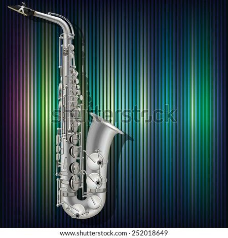 abstract music blue background with silver saxophone - stock vector