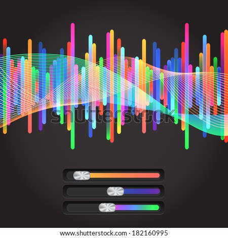 Abstract music equalizer. With colored slider - stock vector