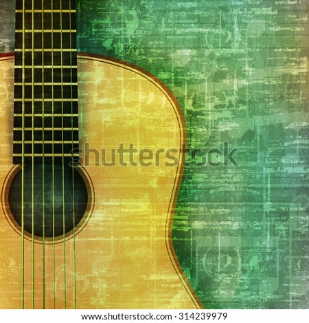 abstract music grunge green vintage background acoustic guitar vector illustration - stock vector