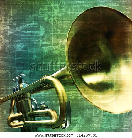 abstract music grunge vintage background trumpet vector illustration - stock vector
