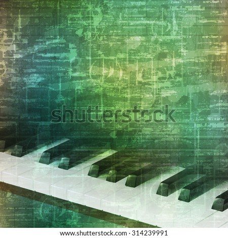 abstract music grunge vintage background with piano keys vector illustration - stock vector