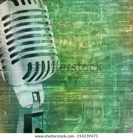 abstract music grunge vintage background with retro microphone vector illustration - stock vector