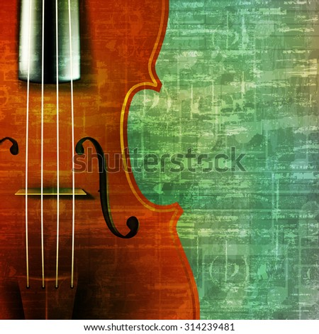 abstract music grunge vintage background with violin vector illustration - stock vector