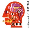Abstract music head - isolated vector illustration on white background. Musical minds. - stock photo