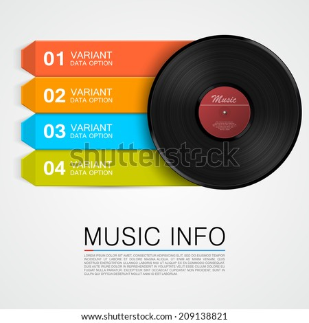 Abstract music info. Vinyl disk - stock vector