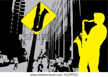 Abstract music landscape with sax player and sax sign - stock vector