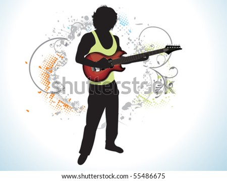 abstract music man with guitar vector illustration - stock vector