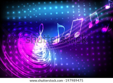 Abstract music notation coming from line swirl on glowing halftone background - stock vector