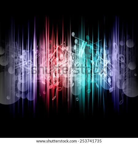 Abstract music notes background - stock vector
