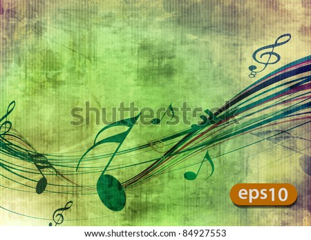 abstract music notes design for music background use. - stock vector