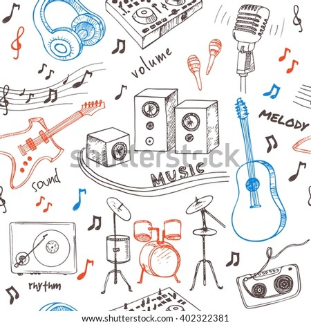 Abstract Music Seamless Pattern with musical instruments.Hand drawing Doodle,vector illustration. Useful for gift cards, packaging, design and interior decorating. - stock vector