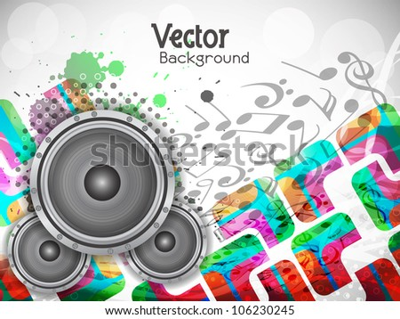 abstract music theme background with loudspeakers, Vector Illustration