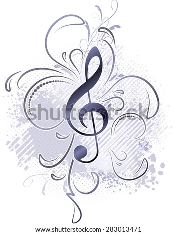 Abstract musical background in grunge style with a treble clef and decorative twigs. - stock vector