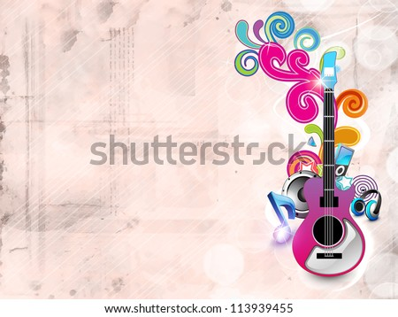 Abstract musical background with guitar and florals. EPS 10. - stock vector